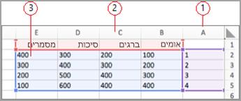 שדות נתונים ב-Excel