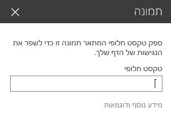 צילום מסך של תיבת הדו-שיח 'טקסט חלופי של תמונה' ב- SharePoint.