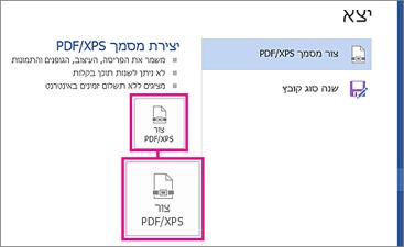לחצן 'צור PDF/XPS' בכרטיסיה 'ייצוא' ב- Word 2016.