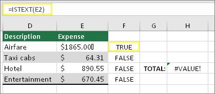 תא F2 עם =ISTEXT(E2) ותוצאה של TRUE