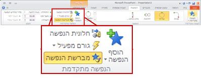 הכרטיסיה 'הנפשות' ברצועת הכלים של PowerPoint 2010.