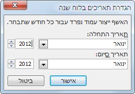 הגדר חודש חדש אחד בתיבת הדו-שיח 'הגדרת תאריך לוח שנה'.