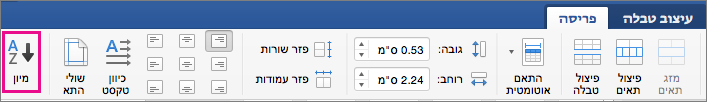 הכרטיסיה 'פריסת טבלה' עם האפשרות 'מיון' מסומנת.