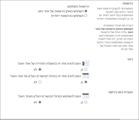 החלק התחתון של תיבת הדו ' יצירת אתר '