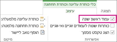 תמונה המציגה את תיבת הסימון 'עמוד ראשון שונה' תחת 'אפשרויות' ב'כלי כותרת עליונה וכותרת תחתונה'.