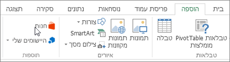 צילום מסך של מקטע של הכרטיסיה ' הוספה ' ברצועת הכלים של Excel עם סמן המצביע על החנות. בחר אחסון כדי לעבור אל חנות Office ולחפש עבור תוספות Excel.