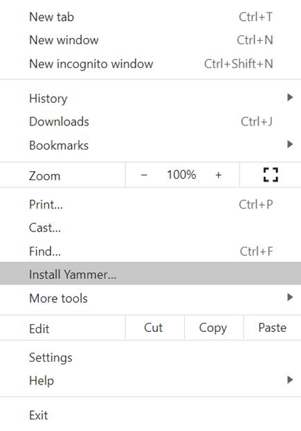 צילום מסך שמראה כיצד להתקין את Yammer עבור PWA עם Chromium מבוססי-Chromium מבוססי-מצח