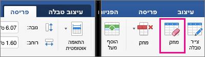 בכרטיסיה 'פריסה', לצד הכרטיסיה 'עיצוב טבלה', האפשרות 'מחק' מסומנת