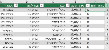 נתונים לדוגמה בטבלת Excel שישמש כמקור נתונים PivotTable