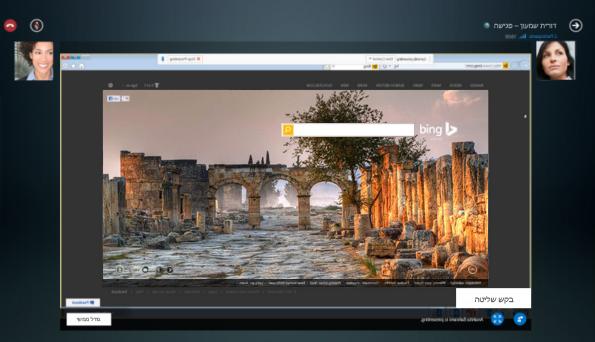 צילום מסך של בקשת שליטה על הפעלת שיתוף