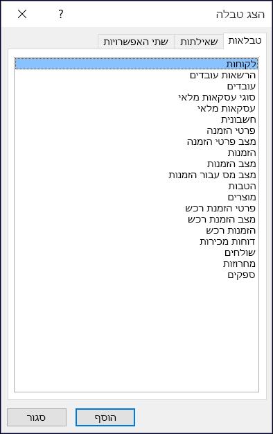 תיבת הדו-שיח 'הצגת טבלה' ב- Access המציגה שמות טבלאות