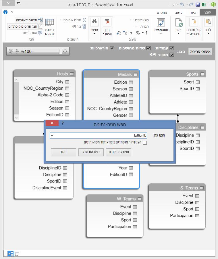 שימוש בתכונת החיפוש בתצוגת דיאגרמה של PowerPivot