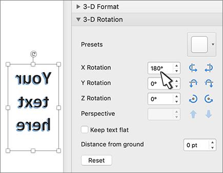WordArt עם סיבוב מעלות של 180