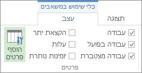 הכרטיסיה 'תבנית כלי שימוש במשאבים', לחצן 'הוסף פרטים'