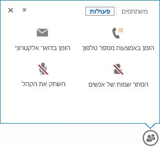 צילום מסך של התפריט המוצג בעת ריחוף על לחצן 'אנשים', עם בחירה של הכרטיסיה 'פעולות'