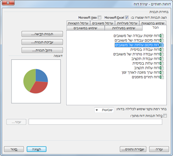 רשימה של תבניות דוח חזותי של Excel בתיבת הדו-שיח 'הצגת דוחות'