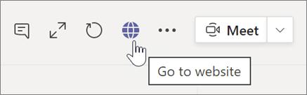צילום מסך של סמן המצביע על סמל גלובוס וטקסט תיאור כלי מעבר לאתר האינטרנט