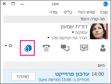 צילום מסך של כרטיסיית התצוגה 'פגישות'