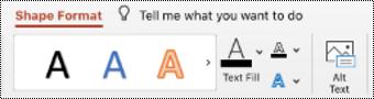 לחצן טקסט חלופי ברצועת הכלים עבור צורה ב- PowerPoint עבור Mac.