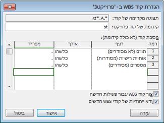 תמונה של תיבת הדו-שיח 'הגדרת קוד WBS'