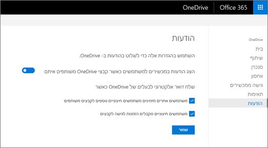 הכרטיסיה הודעות של מרכז הניהול של OneDrive