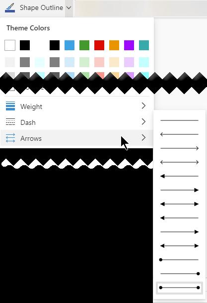Visio באינטרנט כולל מספר אפשרויות לכיוון ולסגנון של חצים.