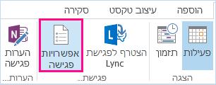 צילום מסך של אפשרויות הפגישה