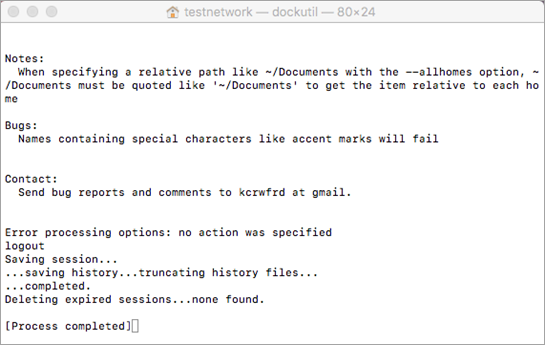 הפעל את הכלי dockutil על-ידי הקשה על Control+לחיצה כדי לפתוח אותו.