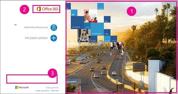 אזורים של דף הכניסה של Office 365 שניתן להתאים אישית.
