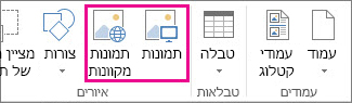 צילום מסך של אפשרויות 'הוספת תמונות' בתפריט 'הוספה' ב- Publisher.