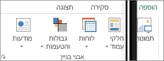 צילום מסך של הקבוצה 'אבני בניין' בכרטיסיה 'הוספה' ב- Publisher.
