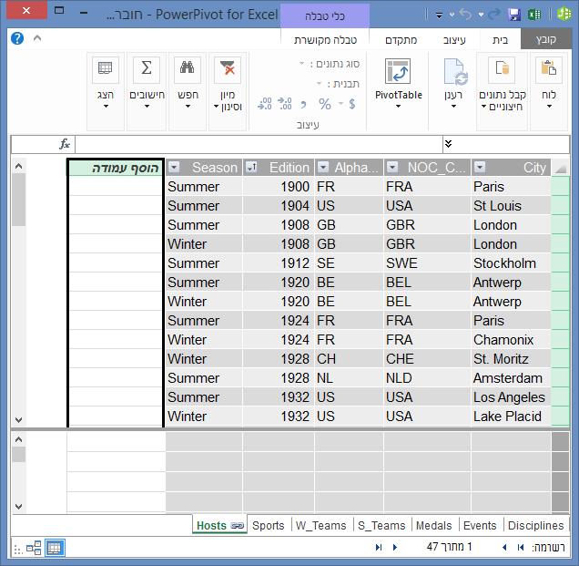 השתמש ב'הוסף עמודה' כדי ליצור שדה מחושב באמצעות DAX