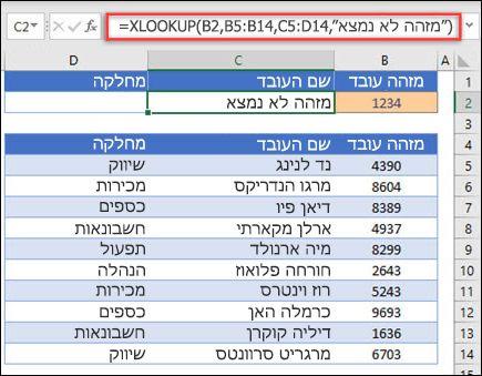 """דוגמה של הפונקציה XLOOKUP המשמשת להחזרת שם עובד ומחלקה בהתבסס על מזהה עובד עם הארגומנט if_not_found. הנוסחה היא = XLOOKUP (B2, B5: B14, C5: D14, 0, 1, """"Employees לא נמצא"""")"""