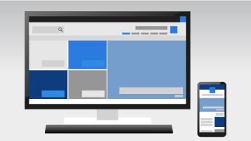 טלפון ומחשב המציגים אתר תקשורת של SharePoint Online