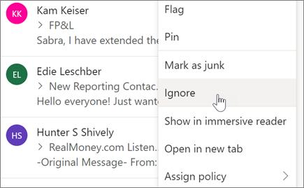 התעלמות משיחת דואר אלקטרוני ב-Outlook באינטרנט