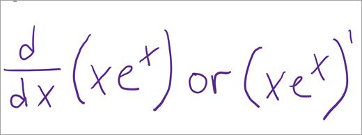 משוואה לדוגמה של נגזרים ואינטגרלים