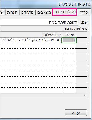 התיבה 'מידע אודות פעילות', המציגה את הכרטיסיה 'פעילויות קדם'.