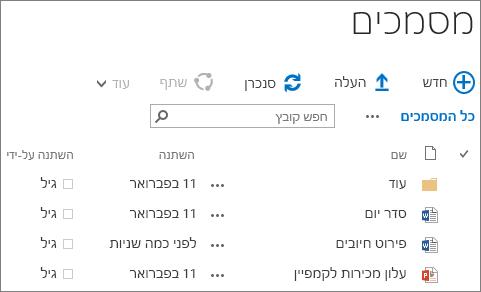 צילום מסך של ספריית מסמכים ב- SharePoint Server 2016