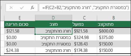 "הנוסחה בתא D2 היא ‎=IF(C2>B2,""Over Budget"",""Within Budget"")‎"