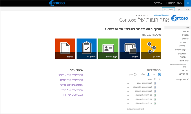 צילום מסך של אתר צוות מותאם אישית עם אתר משנה