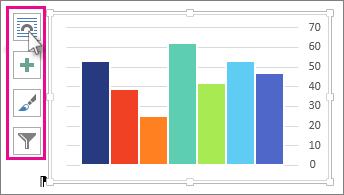 תמונה של תרשים של Excel המודבק במסמך Word וארבעת לחצני הפריסה