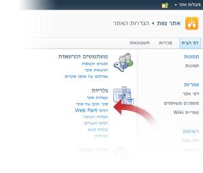 בחירה של סוגי תוכן אתר מהחלון 'הגדרות אתר'