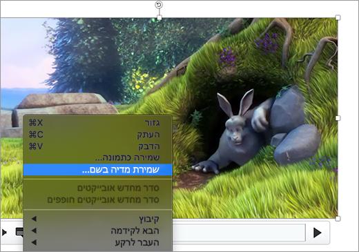 שקופית המכילה תמונה ובחירה של הפקודה 'שמור כתמונה' בתפריט הקיצור