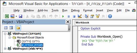 מודול חוברת עבודה זו ב- עורך Visual Basic (VBE)