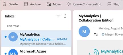 לחצן ' התעלם משיחה ' ב-Outlook עבור Mac.
