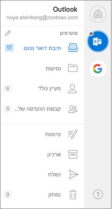 חלונית הניווט של Outlook עם ' מועדפים ' בחלק העליון