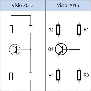 צורות רכיבי חשמל ב- Visio 2013, צורות רכיבי חשמל ב- Visio 2016