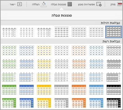 גלריית תבניות טבלה iPad