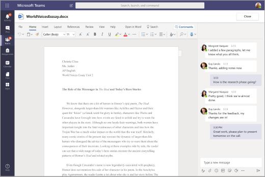 מסמך Word פתוח ב-Teams באמצעות שיחת צ'אט בחלונית לצד ההודעה