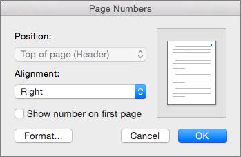 מספרי עמודים, הגדר את המיקום ואת היישור של מספרי עמודים.